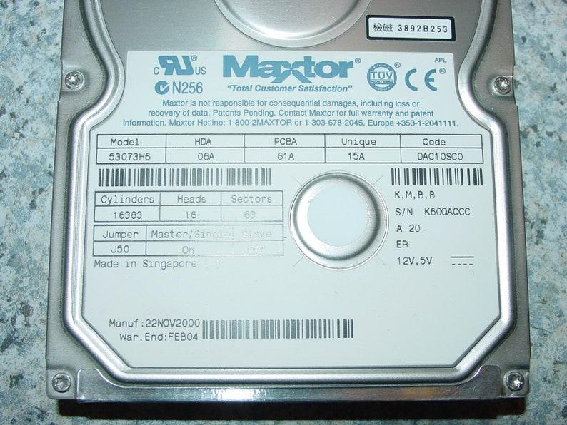 Maxtor 53073H6 NHBA Code DAC10SC0 30GB IDE 3.5 Hard Drive HDD for Vintage Computing