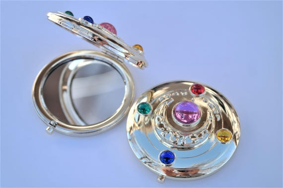 Sailor Moon Henshin Brooch Stained Glass Style Pocket Mirror Compact