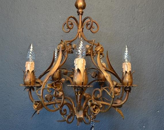 Vintage brass toleware chandelier