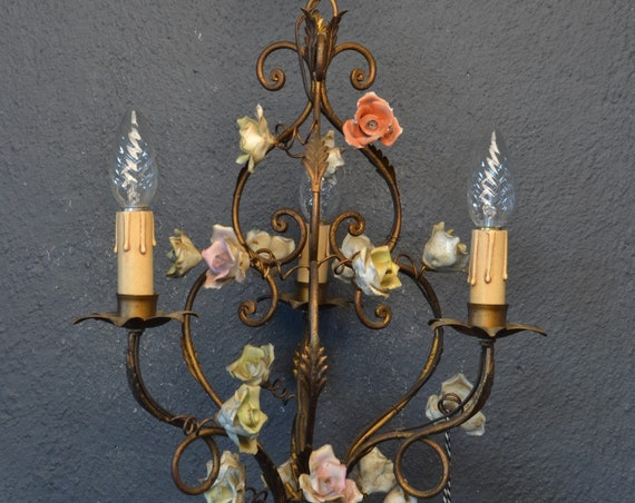 Vintage Italian tole Flower Chandelier with coloured porcelain roses.