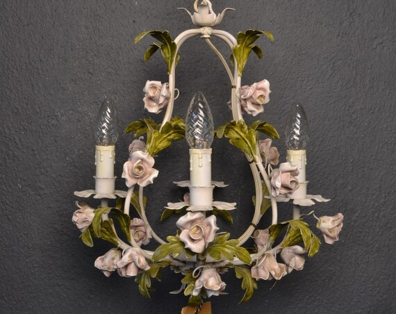 Beautiful tole flower chandelier with porcelain flowers