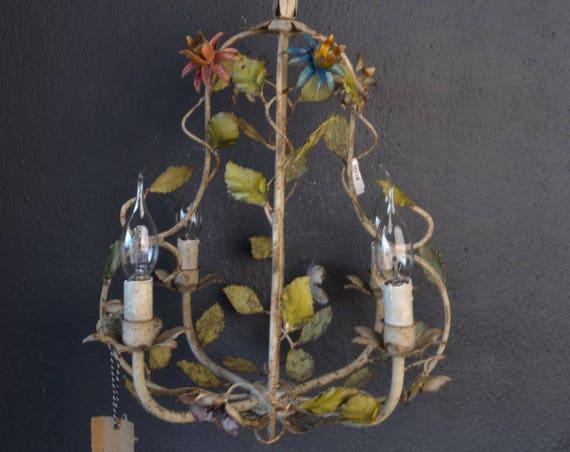 Wonderful  toleware chandelier with metal flowers