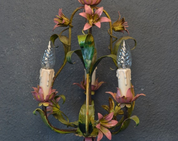 Tole flower chandelier with pink flowers