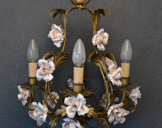 Beautiful tole Flower Chandelier with large porcelain roses.