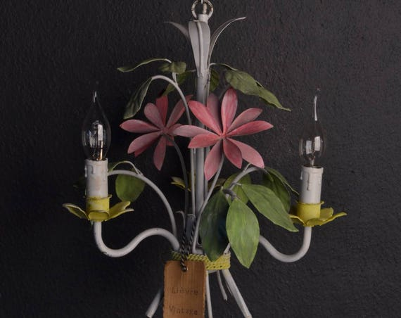 Colourful hand painted Chandelier with pink flowers