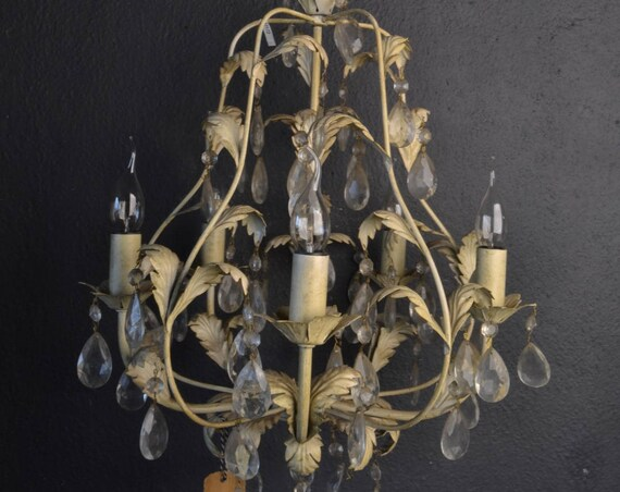 Old tole chandelier with glass crystals