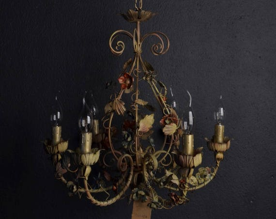 SOLD: Beautiful painted toleware chandelier