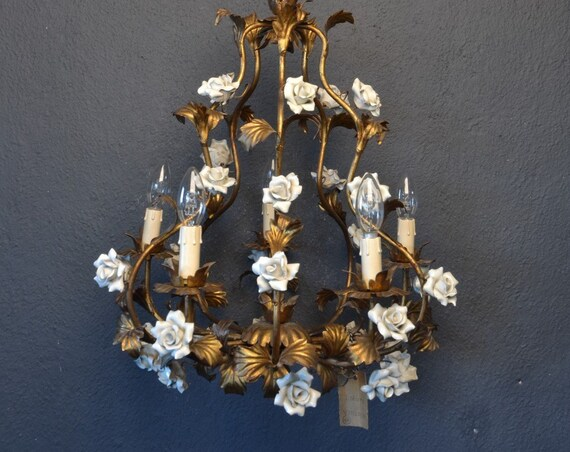 Amazing golden tole Flower Chandelier