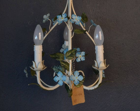Gorgeous toleware chandelier with blue flowers