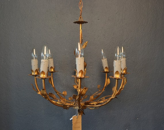 Reserved!!: Golden toleware chandelier italian