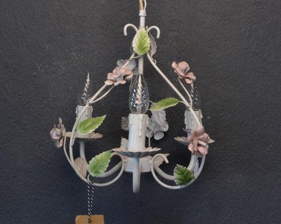 Heart shaped toleware flower chandelier