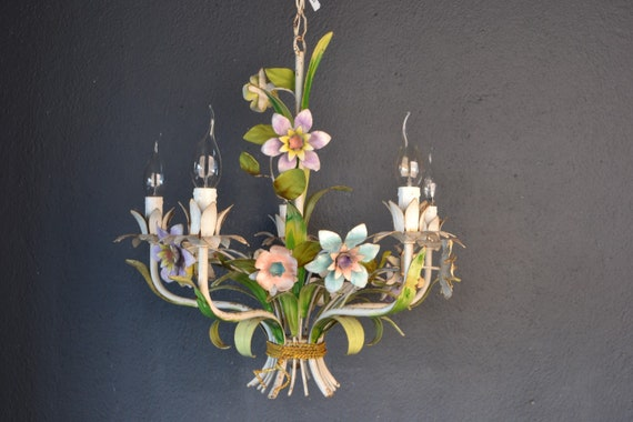 NOT FOR SALE!! :  Colourful tole chandelier with various metal flowers