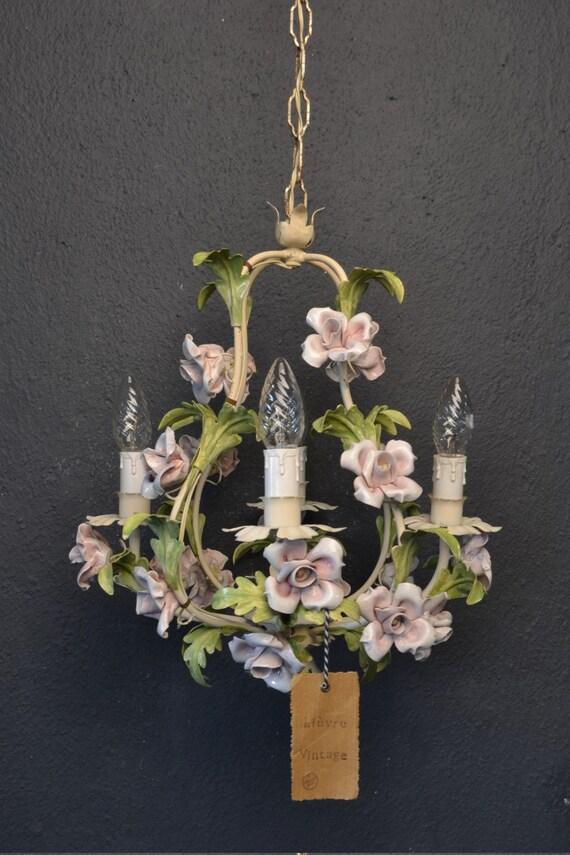 Beautiful tole flower chandelier with porcelain flowers