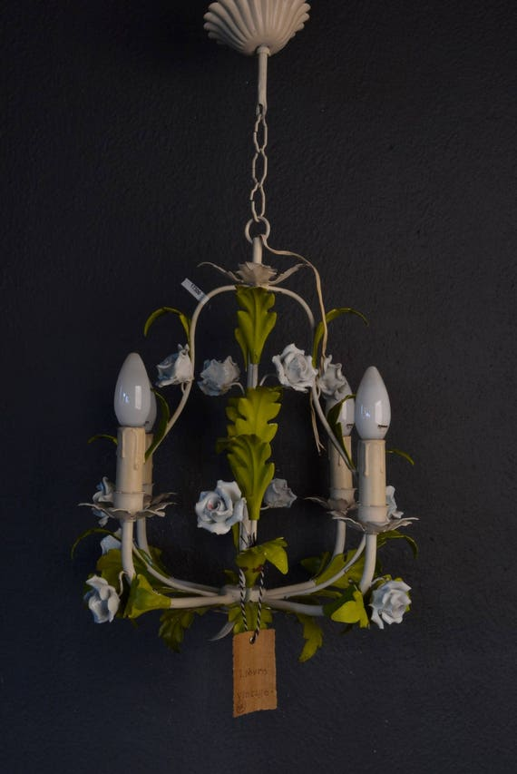 Wonderful toleware chandelier with porcelain roses
