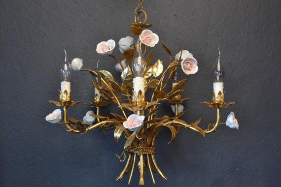 Beautiful golden tole Flower Chandelier