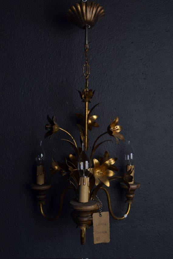 Beautiful vintage golden tole Flower Chandelier with wood
