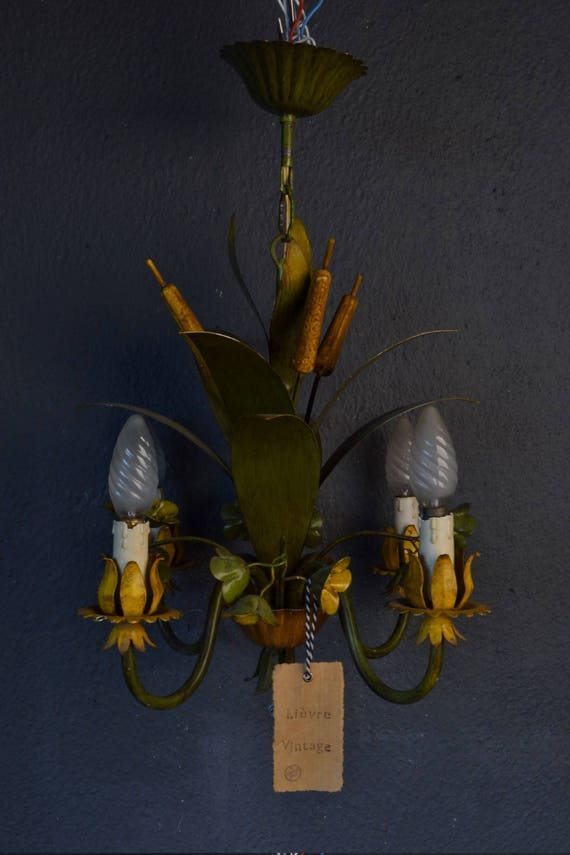 Beautiful old Chandelier with cattail