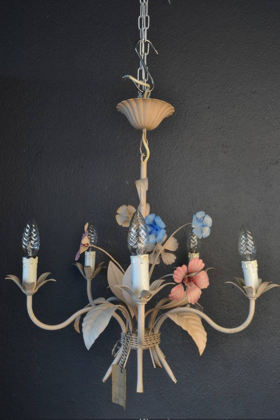 Tole flower chandelier with various metal flowers