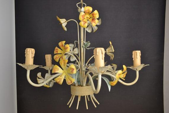 Vintage toleware chandelier italian (130040)