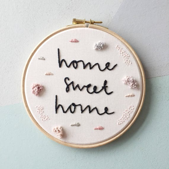 "Custom 6"" or 8"" embroidery hoop. Modern embroidery. Wall art. New home gift. Textile art. Home decor. Wedding gift."