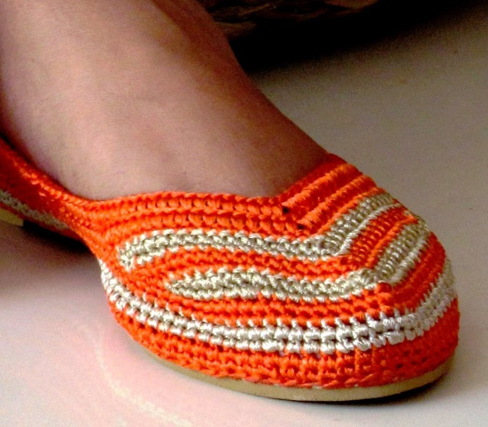 orange and beige crochet shoes | orange and beige crochet ballet shoes | orange crochet shoes
