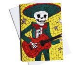 Day of the Dead Card, Birthday Card, Card for Boyfriend, Card for guitarist, Card for Dad