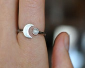 Moon phase ring, Moonstone Ring, Eternity Ring, Forever Ring, waxing moon ring, open ring, half moon, enagement, dainty open ring