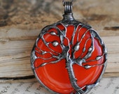 Tree Of Life, Boho Necklace, Tree Pedant, Gift For Mom, Christmas gift, Glass Art, Stained glass, red necklace