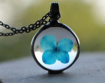 hydrangea necklace purple flower necklace presed flower jewelry bridesmaid necklace terrarium necklace real hydrangea bridal jewelry