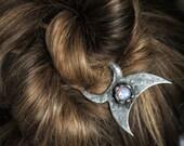 moonstone,Hair pin, Brass hair fork, Lunar hair pin, Moon hair clip, Hair stick, Hair clip, long hair accessory, Large hair pin, hair fork
