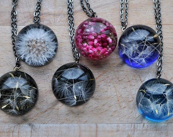 Natural Jewelry, Dandelion Seeds, Fairytale Gifts, Terrarium Jewelry, Natural Jewelry, fairy garden