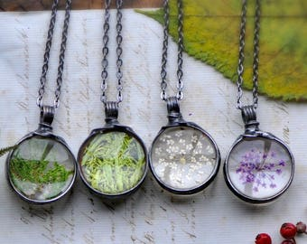 my bridesmaid, bridesmaid proposal, friend necklace, Mom Gifts, Terrarium Necklace, Real Flower Necklace, Botanical Jewelry, Moss Necklace