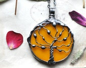 Tree Of Life, Boho Necklace, Tree Pedant, Gift For Mom, Christmas gift, Glass Art, Stained glass