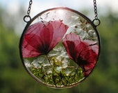 dried real poppy, pressed flower frame, hanging terrarium, Stained Glass Frame, Pressed Flowers, double glass frame, Stained glass decor