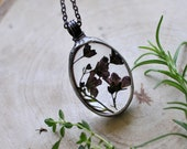 purple delicate flower necklace, terrarium jewelry, glass necklace, pressed flowers frame, dried flowers, stained glass