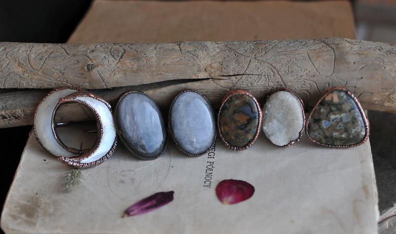 pearl moon ring Electroformed Crystal Ring Raw Crystal Ring Statement Rings Electroformed Jewelry