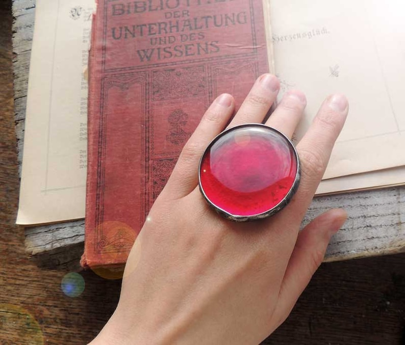 Valentines gift Statement Rings Trend women gift mom life present Red ring Huge ring fairytale gifts best winter women gift
