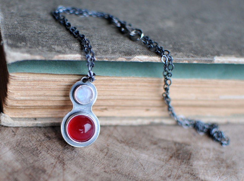 unique jewelry mariaela moonstone Necklace sterling silver necklace Crystal Necklace gemstone jewelry Delicate Necklace