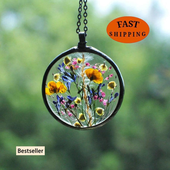 Flowers necklace Terrarium Jewelry Terrarium Necklace Dried Flowers Botanical Necklace Pressed Flowers necklace Herbarium