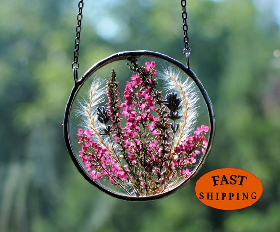 Pressed Flowers Stained glass wall hanging window hanging dried flowers suncatcher