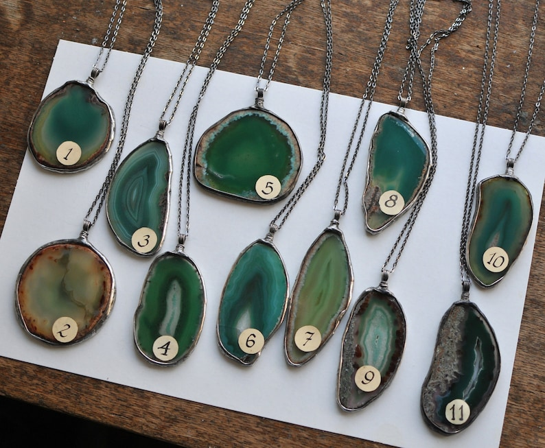 Crystal Jewelry Green Agate Necklace Statement Jewelry Slice Agate Necklace Healing Gemstone Necklace Crystal Necklace Agate Jewelry