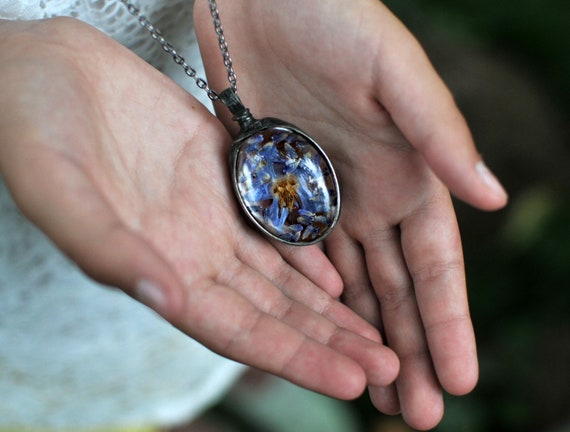 pressed flowers, borage necklace, terrarium necklace, natural jewelry, most romantic gift for her, real flower jewelry