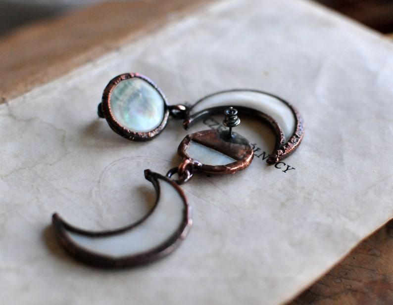 celestial earrings pearl earrings full moon earrings moon phase earrings half moon jewelry moon danging earrings
