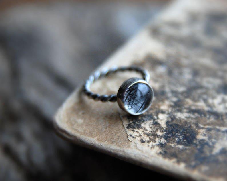free shipping rutilated quartz stacking ring Tourmalinated Quartz Ring gemstone ring Stackable ring Sterling silver