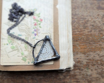 Unique, lovely necklace, Cut-out rosette, mandala, paper cut-out, lace, boho jewelry, gypsy necklace, nostalgy, chic necklace, by MARIAELA