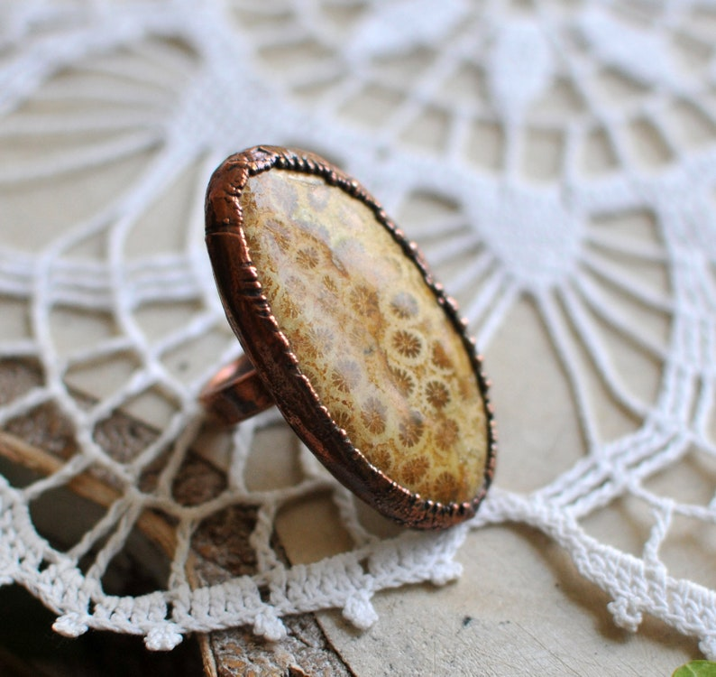 5.75 us size oval shape Big fossil coral ring brown raw ring electroformed jewelry earthy boho jewelry by MARIAELA stunning stone