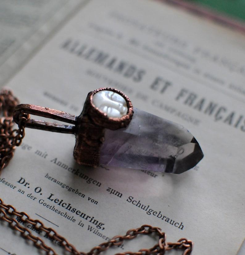 moon necklace amethyst necklace amethyst pendant gemstone neckalce february birthstone amethyst stone purple necklace raw necklace