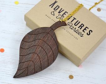 Wooden Leaf Statement Necklace - Leaf Necklace - Statement Jewellery - Leaf Pendant - Wooden Jewellery - Gift for plant lover