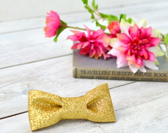 Gold glitter hair clip - hair bow - hair slide - hair accessory - hair clip - birthday gift for girl - wedding hair accessory - hen do gift