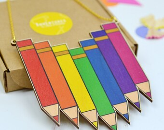 Wooden Pencil Necklace - rainbow necklace - wooden jewellery - gift for teacher - thank you teacher gift - colourful jewellery